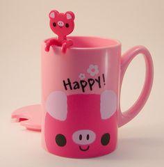 Plastic Piggy Mug with Lid & Spoon