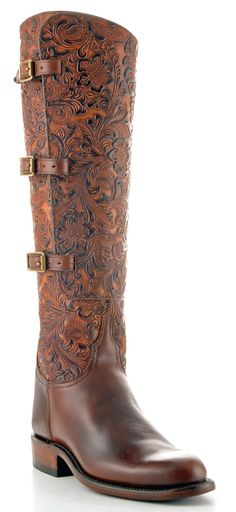 Lucchese Classics L4995 Womens Lieutenant Chocolate Oil Calf Tooled Floral Embossed Boot