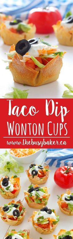 These Mexican Taco Dip Wonton Cups are perfect for #CincoDeMayo www.thebusybaker.ca