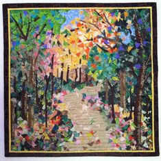 """Confetti quilt.   14""""X14""""    """"Falling For You""""   Created and free motion quilted by Meriul Easton, April, 2013"""