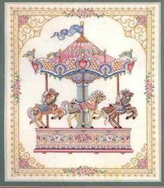 carosel cross stitch  | ... -Gold-Collection-HER-MAJESTYS-CAROUSEL-Cross-Stitch-Kit-3769-Unopened this was one of the first ones I did