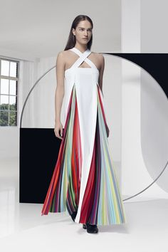 MARY KATRANTZOU: For a bride at a beach wedding, this Mary Katrantzou rainbow-hued halter dress blocked with white would make a colorful statement