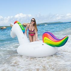 "Inflate Large 36/"" Pink Rainbow Colorful Dolphin Inflatable Pool Toy Set of 1"