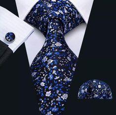 Men's Silk Coordinated Tie Set - Blue Silver Floral – Uylee's Boutique