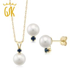 14K Yellow Gold Cultured Akoya Pearl Pendant Earrings Set with Sapphire Accent