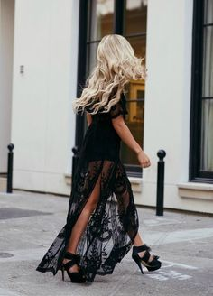 e185bcc46d17 To Die For Gypsy Lace Sheer Maxi Dress Black