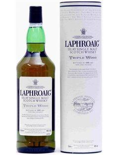 Laphroaig is proud to be the world's Islay Single Malt Scotch Whisky. Laphroaig introduced its latest seasonal expression - Laphroaig Triple Wood. Scotch Whisky, Bourbon Whiskey, Bourbon Drinks, Laphroaig Whisky, Top Drinks, Alcoholic Drinks, Single Malt Whisky, Wine And Spirits, Whiskey Bottle