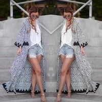 Wish | Hippie Fashion Women Blouse Geometric Printed Chiffon Coat Shawl Kimono Cardigan Maxi Long Tops Loose Cape#SRF