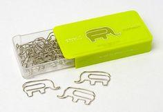Elephant paper clips.