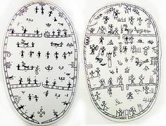 Kolmiosainen_rumpu Les Sâmes ont immortalisé leur conception de la structure de l'univers sur la peau (le kannus), de leurs tambours. Ils y ont tracé des signes multiples en rapport avec la mythologie et les voyages de l'âme. Ces signes constituent ainsi une « véritable carte cognitive », fonctionnant » sur plusieurs niveaux : réel, mythologique et cosmogonique, astral et psychique et fournissant ainsi au chaman toutes les connaissances nécessaires.