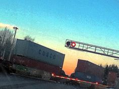 train with a sunset in the background