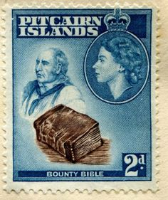 "Stamp: John Adams and ""Bounty"" Bible (Pitcairn Islands) (Queen Elizabeth II Issues Mi:PN 20 Pitcairn Islands, British Overseas Territories, Bible Society, British Indian Ocean Territory, First Day Covers, Vintage Stamps, Queen Elizabeth Ii, Stamp Collecting, New Zealand"