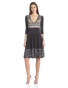 Plenty by Tracy Reese Women's V-Neck 3/4 Sleeve Jersey Dress, Soft Black/Multi, Large Plenty by Tracy Reese,http://www.amazon.com/dp/B00GG9J2TY/ref=cm_sw_r_pi_dp_Mtwptb0CQ9MGYYS7