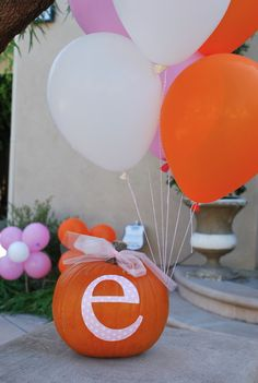Its Ellas World Now: Happy Birthday Ella! Pink and Orange Balloon Themed Party. Halloween 1st Birthdays, Fall 1st Birthdays, Pumpkin 1st Birthdays, Pumpkin Birthday Parties, Pumpkin First Birthday, First Birthday Pictures, Baby Girl First Birthday, Happy 2nd Birthday, Halloween Birthday