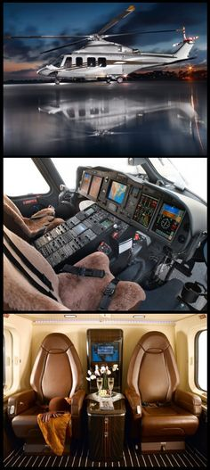 Private luxury Helicopter Agusta Westland and Italian design house Pininfarina have joined forces to create the AW 139 Pininfarina edition helicopter complete with soft leather seats which can carry up to 9 people Luxury Helicopter, Helicopter Plane, Jet Plane, Helicopter Private, Luxury Jets, Luxury Private Jets, Private Plane, Nissan 370z, My Ride