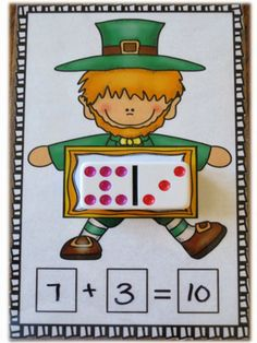 11 St. Patrick's Day Math Centers for Kindergarten Common Core. Using dominoes to add and subtract.