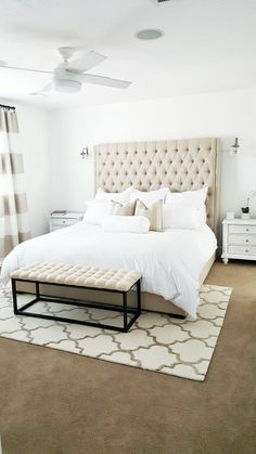 Spring bedroom ideas, Spring home tour, fresh spring inspiration Master Room, Master Bedroom Design, Bedroom Designs, Bedroom Ideas, Rugs Usa, Spring Home, House Tours, Cream Headboard, Living Spaces