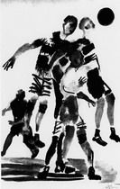 Художник Александр Дейнека. . Футбол. Рисунок для журнала «Красная нива». 1927 г