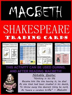 Students will keep track of the various characters within the play Macbeth. Shakespeare Words, Shakespeare Macbeth, William Shakespeare, High School English, English Class, Teacher Notebook, Always Learning, Middle School, Teaching Ideas