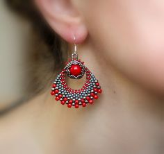 Exotic Earrings, Red and Silver Fan Earrings, Ornate Earrings, Bollywood Earrings, Artistic Jewelry, Ornate Victorian Earrings