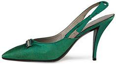 Escarpins - Satin Vert et Strass - Roger Vivier - Dior - Années 50