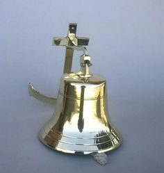 "Large Anchor Wall Decor solid brass ""titanic"" ship's bell 6"" maritime wall decor 