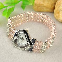 Fashion Alloy Rhinestone Watch Bracelet, with Glass Beads and Alloy Rhinestone Spacer Bars, Pink, 48mm.