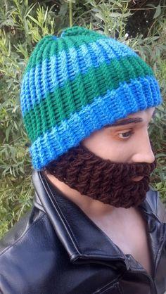 Blue and Green Beard Cap w/ Detachable BeardChoose by HolyNoggins, $35.00