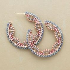 Delicate hoop earrings with Japanese seed beads, probably by Miguel Ases. As an indispensable part of women's stash, hoop earrings have been adored by young girls, especially beaded hoop earrings have been a hit in recent years due to Find hoop earrings Seed Bead Jewelry, Bead Jewellery, Seed Bead Earrings, Beaded Earrings, Beaded Jewelry, Jewelery, Handmade Jewelry, Seed Beads, Hoop Earrings