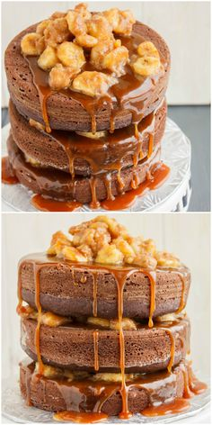 A naked chocolate-peanut butter layer cake with cinnamon-rum bananas, finished off with a homemade caramel sauce.