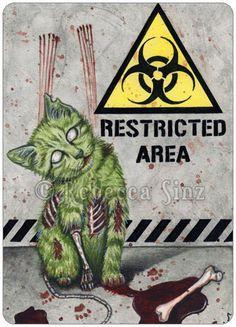 Gothic Fantasy ZOMBIE CAT Art ACEO PRINT halloween biohazard blood horror #Realism