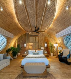 Bamboo architecture is all the rage in the world of tropical sustainable luxury, and the latest word in this trend is the Ulaman Eco Retreat in Bali. This wellness retreat is an incredibly inventive creation that blends ancient building techniques and modern technology to offer an experience of a futuristic village integrated into a tropical forest. #ubudbalihotel #ubudbalihotelboutiques #besthotelsinubudbali #balihoteldesign #balihotelarchitecture #balihotelinterior #balihotelinteriordesign Luxury Hotels Bali, Ubud Bali Hotels, Beach Hotels, Hotels And Resorts, Bvlgari Hotel, Best Of Bali, Bamboo Architecture, Ancient Buildings, Tropical Forest
