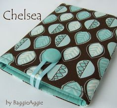 CHELSEA Gorgeous Ladies' eReader Case, for Kindle, NOOK and Kobo Touch.  Duck Egg Blue, Turquoise, and Dark Chocolate Brown.