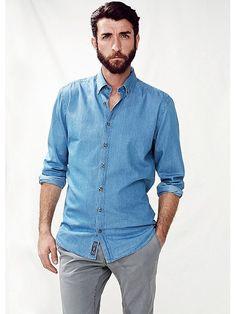 cheaper 67c35 da69e He By Mango Slim-fit Chambray Shirt