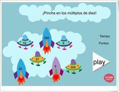 """""""Cohetes múltiplos de 10"""" Juego de aprendomates.com en el que hay que hacer click en los cohetes y naves que sean múltiplos de 10."""