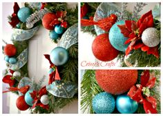 Crissy's Crafts: Red and Aqua Holiday Wreath