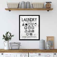 Excited to share the latest addition to my shop: Laundry Wall Art - Laundry Cheat Sheet - laundry subway art Wall decor - Machine Wash Hand Wash Hang Dry Iron - Chalkboard PRINT