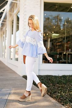 b870250817f blue bell sleeve top Preppy Outfits Spring