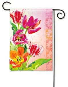Spring #Tulips Garden Flag.  BreezeArt Premium Flags are made of our exclusive SolarSilk 600 denier polyester for greater durability, yet they have a softer, silkier feel for better drape and movement. Fade and mildew resistant. Artist Name: Gail Flores. #gardenflag #flag