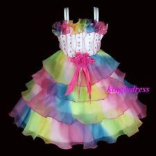 NEW Flower Girl Pageant Wedding Party Princess Dress Multi-Color Size 3 - 8 A718