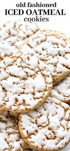 Old-Fashioned Iced Oatmeal Cookies ~ Soft in the middle and crispy on the edges, sweet, but not overly so, and the cinnamon and nutmeg really shine through. desserts Old-Fashioned Iced Oatmeal Cookies Freezer Cookies, Oatmeal Cookie Recipes, Brownie Recipes, Simple Oatmeal Cookie Recipe, Cheesecake Recipes, Cookies Et Biscuits, Cookies Soft, Yummy Cookies, Iced Cookies