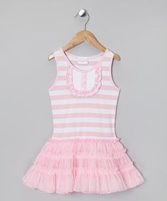 Take a look at this Pink & White Stripe Ruffle Bib Dress - Infant, Toddler & Girls on zulily today!