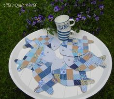 Ulla's Quilt World: Quilted Fish mug rug