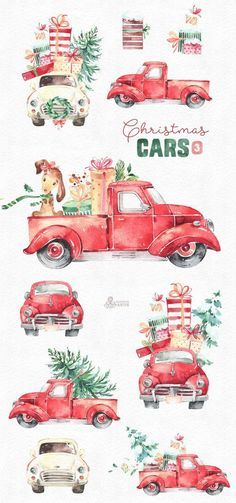 Christmas Cars Watercolor holiday clipart vintage retro truck gifts Christmas tree floral wr t j Christmas Cars, Christmas Settings, Noel Christmas, Christmas Projects, Winter Christmas, Vintage Christmas, Christmas Gifts, Christmas Clipart, Xmas