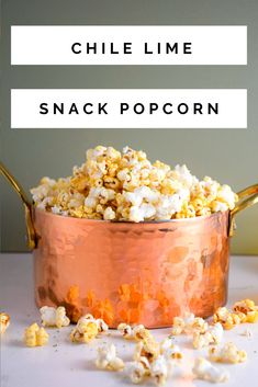 This Chile Lime Popcorn is an addictively spicy popcorn that is perfect as an easy appetizer or movie watching snack that everyone will love! Quick Appetizers, Appetizer Recipes, Easy Dinner Recipes, Pasta Recipes, Yummy Snacks, Yummy Food, Spicy Popcorn, My Favorite Food, Favorite Recipes
