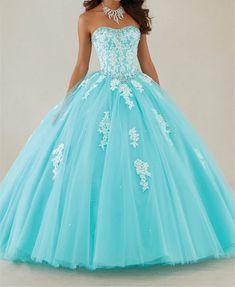 Elegante 2016 de Aqua azul sin tirantes de Tulle Quinceanera del vestido vestido con cuentas de encaje apliques dulce 16 vestido de la princesa