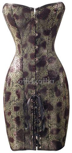 424a99c6c92 Goth Green Long Corset Dress Snake Skin Bustier