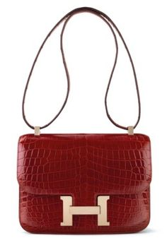 3613267b0b4a A SHINY ROUGE H NILOTICUS CROCODILE CONSTANCE 24 WITH GOLD HARDWARE