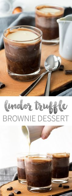 Copycat Lindor Truffle Chocolate Desserts - a delicious brownie topped with a homemade Lindor Chocolate filling!