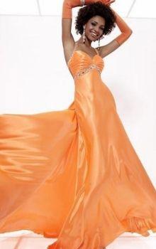Orange Sheath/Column Straps Empire Long/Floor-length Sleeveless Elastic Silk-like Satin Watteau Train Lace-up Prom Dresses Dress
